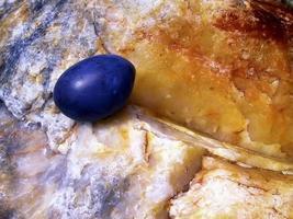 pruimen op een steen - organisch en anorganisch foto
