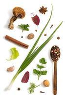 kruiden en specerijen die op wit worden geïsoleerd foto