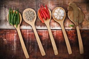specerijen en kruiden in houten lepels. foto