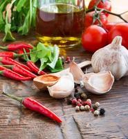 peper, knoflook en andere kruiden