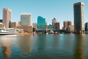 uitzicht op het water van de skyline van Baltimore onder een heldere blauwe hemel foto