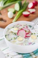 oude soep met verse groenten en kefir (okroshka) foto