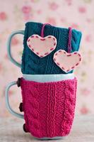 twee blauwe cups in blauwe en roze trui met hartjes foto