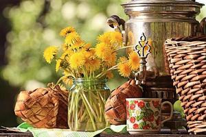 samovar zomerbloemen foto