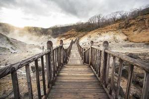 beroemde noboribetsu warmwaterbronnen, hokkaido, japan foto