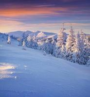 kleurrijke winterlandschap in bergen.