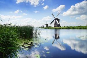 schilderachtig landschap met windmolens. kinderdijk foto