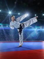 professionele vrouwelijke karatevechter