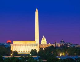 Washington monument Capitol en Lincoln Memorial foto