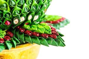 kunst van bananenblad, handwerk Thaise stijl foto