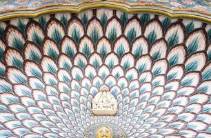 deurboog van de lotuspoort, stadspaleis, jaipur foto
