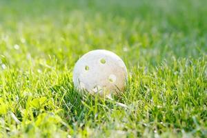 floorbal bal in groen gras foto