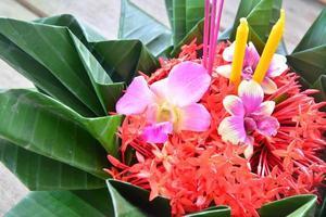 loy kratong festival gevierd in thailand, tijdens het volle moo foto