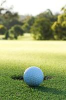 golfbal en gat foto
