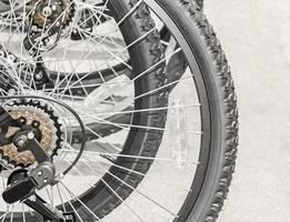 groep fiets achterwielen met achterderailleur foto