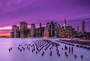 zonsondergang in New York foto