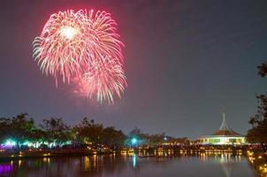 vuurwerk bij suan luang rama ix, bangkok foto