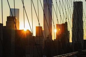 New York City bij zonsondergang. foto