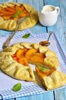 herfst dessert - dadelpruim galette met abrikozenjam. foto