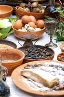 het bereiden van oud Romeins eten foto