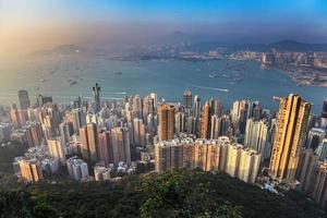 hong kong, stad skyline, aanzicht, van, victoria, peak foto