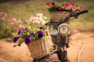 motor met bloemen foto