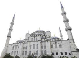 blauwe moskee en witte lucht, istanbul, turkije