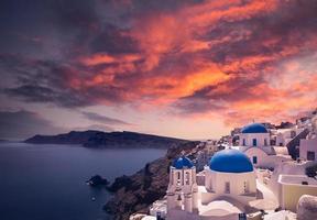 Santorini zonsondergang foto