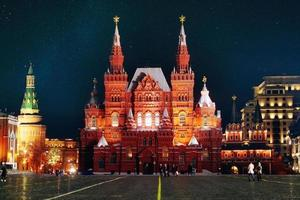 Moskou nacht historisch museum foto