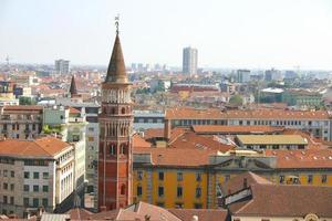 Luchtfoto van Milaan vanaf het dak van de Duomo, Italië