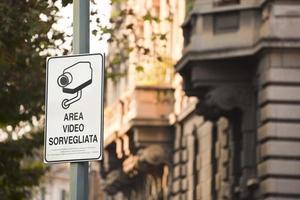 Italiaanse CCTV-kennisgeving foto