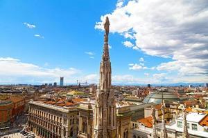 luchtfoto van het centrum van Milaan vanaf de hoogte van de koepeltoren.
