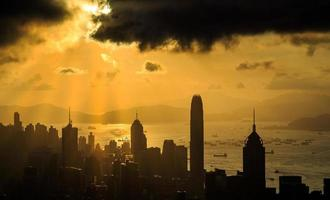 stad zonnestraal zonsondergang foto