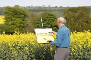een senior mannelijke kunstenaar die een prachtig landschap schildert foto