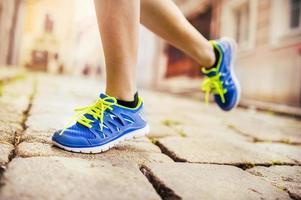 vrouwelijke atleet, voeten close-up foto
