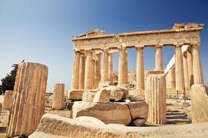 parthenon op de akropolis in Athene foto