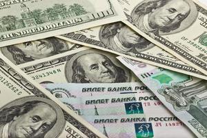 Amerikaans en Russisch geld foto
