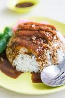 rijst geroosterde eend met saus