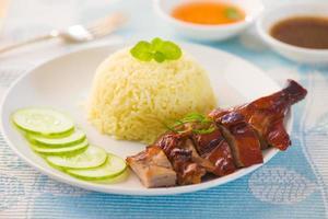 geroosterde eendenrijst, populair Aziatisch eten in Maleisië foto