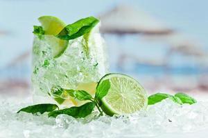 stukjes limoen en blaadjes munt met ijs