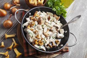 kipfilet met champignons en room foto
