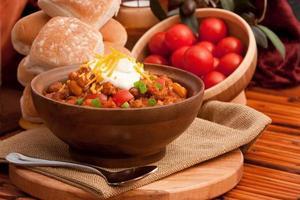 zelfgemaakte kom chili foto