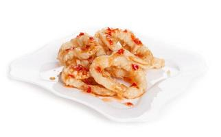 gebakken tempura inktvis ring - stock beeld foto