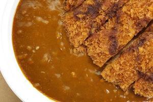 Japanse traditionele gerechten varkensvlees en curry rijst foto