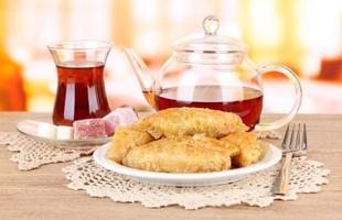 zoete baklava in plaat met thee op tafel close-up foto