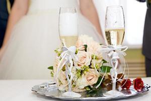 champagne op bruiloft foto