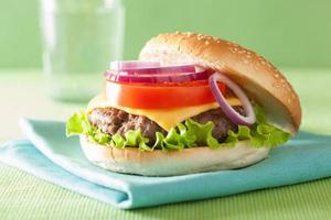 cheeseburger met runderpasteitje kaas sla ui tomaat