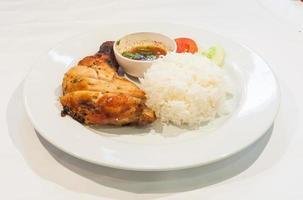 erk kip met rijst - caribbean stijl foto