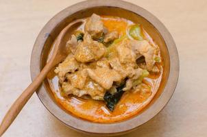 rode hartige currypasta met varkensvlees en kokosmelk (panang) foto
