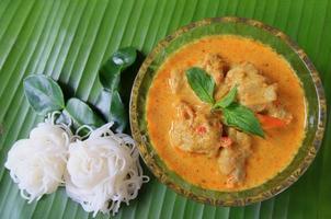 fish ball groene curry is Thaise keuken foto